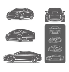 car icons set modern sedan vector image vector image