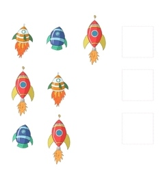 Educational game for children draw missing rocket vector