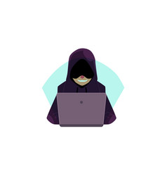 hacker in hoody using laptop for computer attack vector image vector image