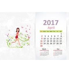 nice young woman running fun Calendar for 2017 vector image