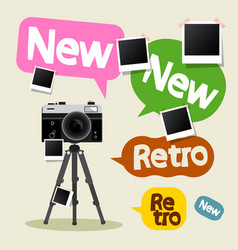 vintage camera on tripod with retro and new text vector image vector image