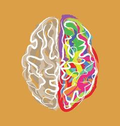 Creative brain with color strokes vector image