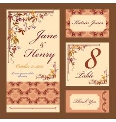 Grapevine Wedding card set Printable vector image