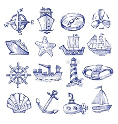 hand drawn boat and ship vector image vector image