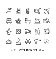 Hotel Icon Thin Line Set vector image vector image