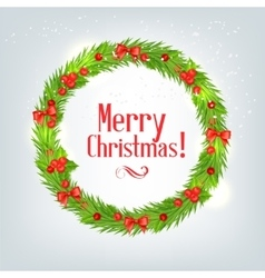 wreath of fir branches with Christmas holly vector image