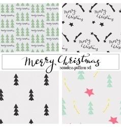 christmas seamless pattern set vector image