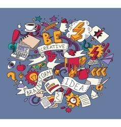 Creative doodles idea brainstorm color square vector image