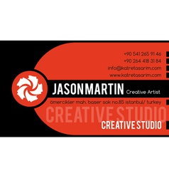 Creative orange business card vector image