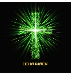 He is risen Shining cross Easter background vector image