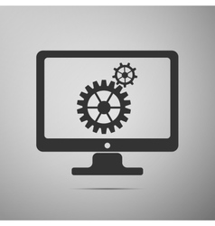 Monitor and gears flat icon on grey background vector image vector image