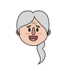 old woman face with hairstyle vector image vector image