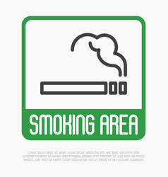 Smoking area thin line sign vector