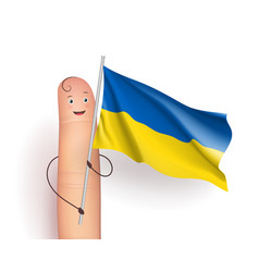 finger with ukraine waving flag vector image