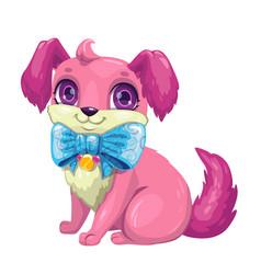 little cute cartoon fluffy puppy vector image vector image