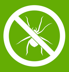 no spider sign icon green vector image vector image