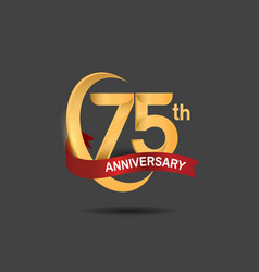 75 anniversary design logotype golden color vector