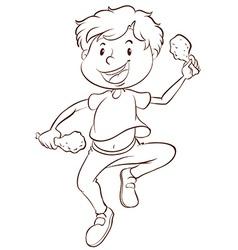 A plain drawing a boy eating vector
