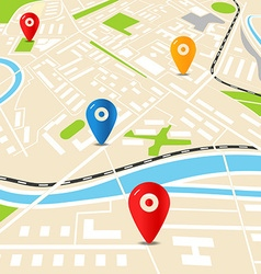 Abstract city map with color pins Flat design vector image