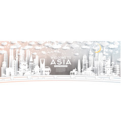 Asia city skyline in paper cut style with vector