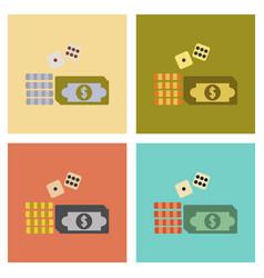 Assembly flat icons poker money dice chips vector