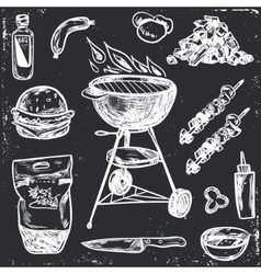 Bbq Grill Sketch Set Hand Drawn vector