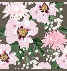 beautiful pink peony and chrysanthemum flowers vector image