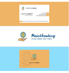 Beautiful safe world logo and business card vector
