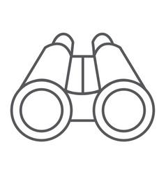Binoculars thin line icon optical and zoom vector