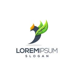 bird leaf logo design vector image