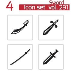 black sword icons set vector image