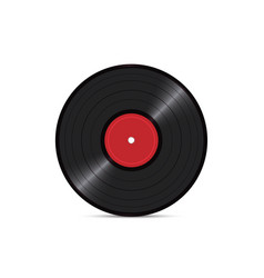 black vinyl disk record isolated on white vector image