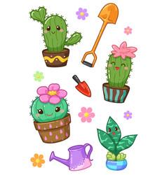 cactus kawaii vector image