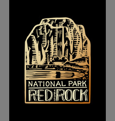 camping logo and label mountains and pine trees vector image