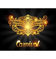 Carnival invitation card with golden lace mask vector