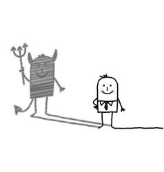 cartoon businessman with devil shadow vector image