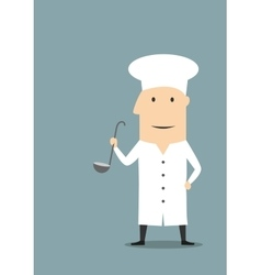 Cartoon chef in white uniform with ladle vector image