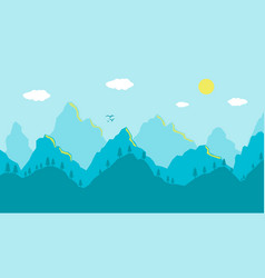 cartoon mountains landscape morning artistic blue vector image