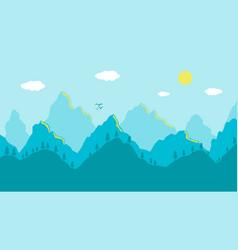cartoon mountains landscape morning artistic blue vector image