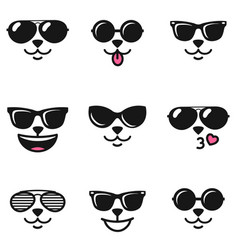 cat faces with different emotions and sunglasses vector image