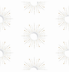 celestial sun and moon shapes seamless pattern vector image