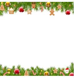 christmas border fir tree vector image