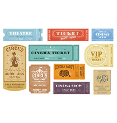 cinema circus funfair theater show retro tickets vector image