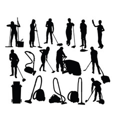 Cleaning service activity silhouettes vector