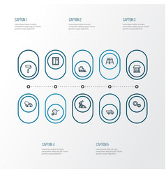 Construction outline icons set collection of gear vector