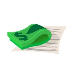 Contract with stack of dollars icon cartoon style vector