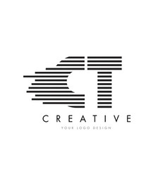 Ct c t zebra letter logo design with black and vector