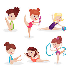 cute beautiful little girls performing gymnastic vector image