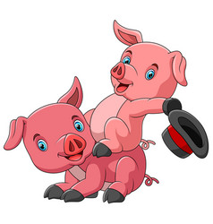 cute cartoon family pig playing together vector image