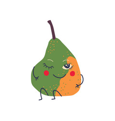 cute green and yellow pear with smiling face vector image